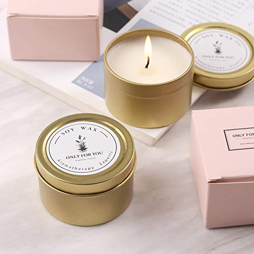 Carolilly Velas perfumadas de lata de cera de soja natural, aroma romántico,...
