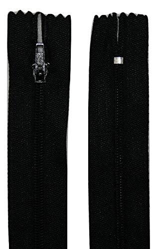 50 Fermetures éclair, 20 cm longue, 24 mm large, spirale, Couleur: noir