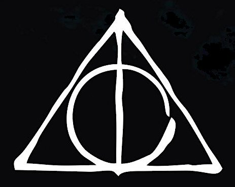 PLU Deathly Hallows Drawn White Decal Vinyl Sticker|Cars Trucks Vans Walls Laptop| White |5.5 x 4 in|PLU436