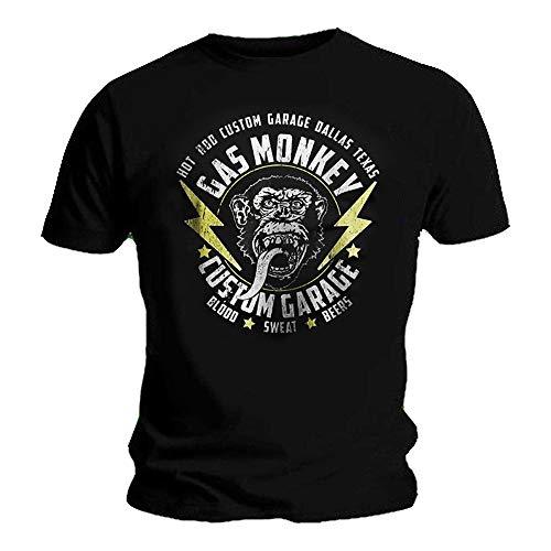 Gas Monkey garage maglietta ufficiale Gmw Lightning Bolt Blood Sweat Nero XL