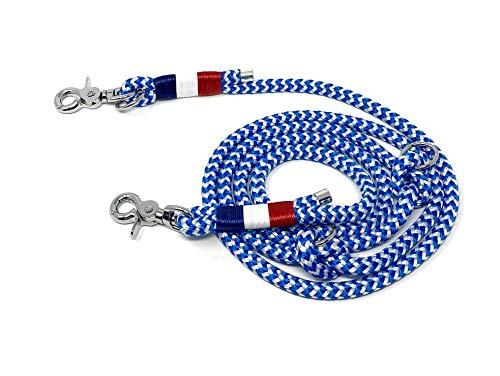 Wau-Effekt Hundeleine aus Segeltau - 200cm Länge - 100% Handarbeit - dreifach längenverstellbar durch Wanderknoten aus robustem Segeltau (M (200cm, 10mm Tau), Blau/Weiß - Blau Weiß Rot)