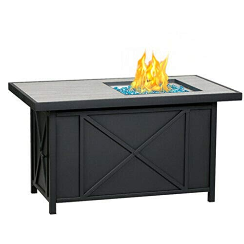 42' Rectangular Fire Pit Table w/Blue Glass Stones Stainless Steel Auto Ignition Ceramic Tile Tabletop Patio Propane Fireplace 60,000 BTU Outdoor Gas Heater Garden BBQ Backyard Ashless Fire Pit