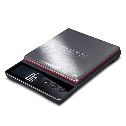 Salter Balance de cuisine numérique digitalle Heston Blumenthal - Capacité 5 kget Précision 0,5 g - Accessoire élégant, , métrique / impérial, liquides fonction Aquatronic - Noir / Argent