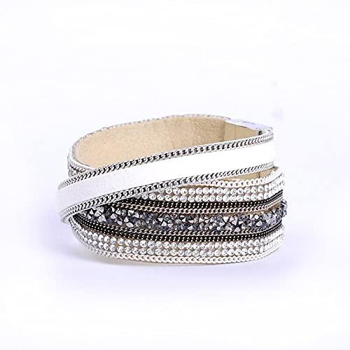 Multi-Layer PU Leather Bracelet with Rhinestone Stone Beads Magnetic Clasp Women Wrap Masculina Bijoux Bracelet