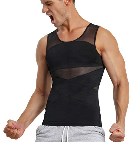 TAILONG Men's Compression Shirt for Body Shaper Slimming Vest Tight Tummy Underwear Tank Top (Black, Large)