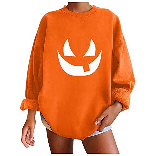 Camiseta Sudadera de Manga Larga con Cuello Redondo Suelto Talla Grande, Mujeres Calabaza Emoji Estampado Pullover Blusa Tops Otoño Camisas Casual Camisetas de Halloween Clásico (E Naranja, S)
