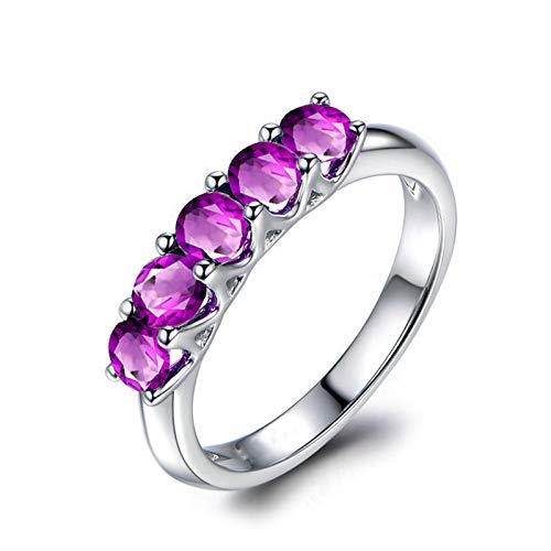 AmDxD Anillo Plata Mujer 925, Anillos de Compromiso Mujer 5 Redonda Púrpura Circonita, Plata, Tamaño 25 (Regalo Madre)