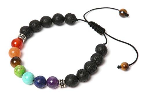 Natufa Premium 7 Chakren Armband mit echten Energiesteinen für Damen und Herren, mit Geschenkbox und Energiesteinbeschreibung - Perfekt als Geschenk
