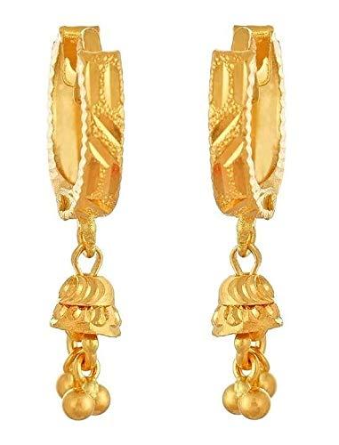 Certified Indian Handmade Solid 22K/18K Stamped Fine Gold Hanging Hoops Earrings