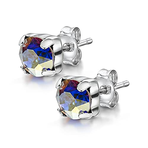 Amberta Pendientes de Botón para Mujer en Plata de Ley 925 con Cristal Lumini: Color Aurora Boreal