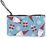 Yuanmeiju Vacaciones navideñas Danés Moderno Papá Noel para Mujer Monedero de Lona Mini Monedero para Cambio Portatarjetas Cartera para teléfono Bolsa de Almacenamiento Mochilas Informales
