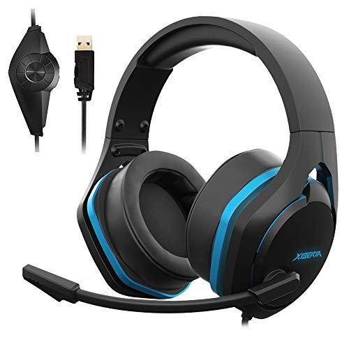 Jeecoo V22 Gaming Headset for PC- Deep Bass 3D Surround Sound- USB Headphones with Noise Cancelling Microphone RGB Lights Plug & Play for Laptops Computers