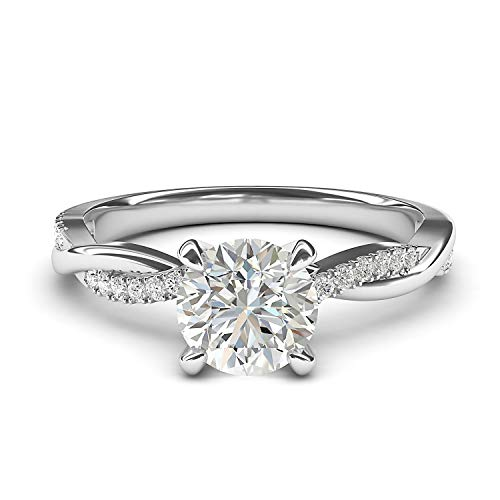 14k White Gold 4-Prong Petite Twisted Vine Simulated 1.0 CT Diamond Engagement Ring Promise Bridal Ring (8)