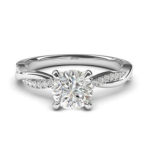 LANDA JEWEL Mujer Niña Unisex Niños Femenino. 0.925 plata de ley round-brilliant-shape blanco excepcional +/incoloro/d Diamante sintético