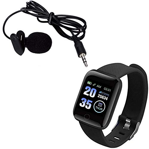Raptas Watch D-116 Plus Smart Watch Bracelets Fitness Tracker Heart with Lavalier Mic Microphone for PC Notebook Laptop YouTube Lecture