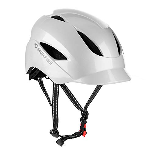 Bike Helmet for Adults Men Women Urban Commute with Rechargeable USB Light, Bicycle Cycling Helmet CPSC Certified, Adjustable Size 22.05-24.41 Inches (Pearl White)