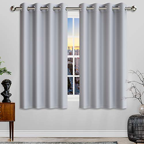 DORPU 100% Blackout Window Curtain Panel, Noise Cancelling 8 Grommets Drapes (Set of 2 Panels, 52 by 63 - Inch, Light Gray)