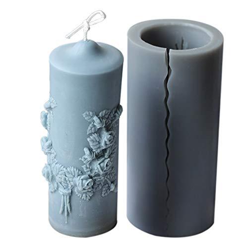 Baalaa DIY tallada vela cilíndrica estilo europeo hogar retro flor patrón perfumado vela silicona