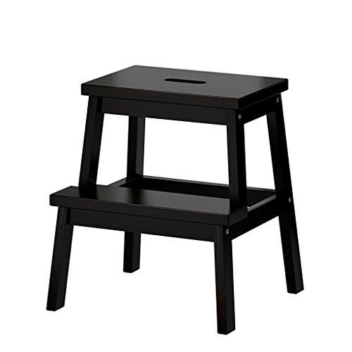 Tabouret d'échelle en bois massif tabourets de tabouret multifonctionnel/chaussures changeantes Chaises pliantes avec 2 étapes (couleur; noir) chaises pliantes d'intérieur