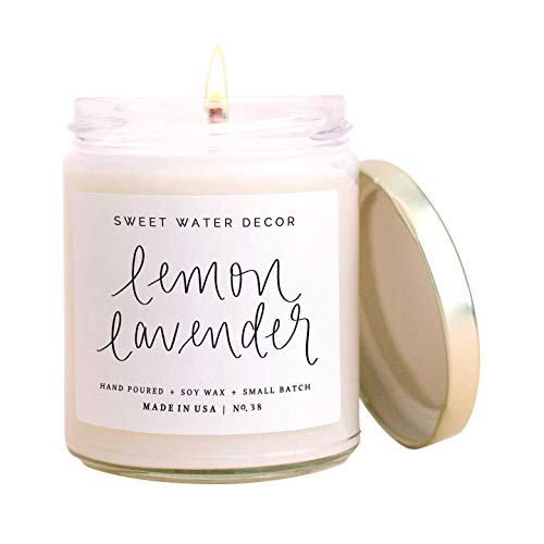 Sweet Water Decor Lemon Lavender Candle | Lemon, Lavender, Eucalyptus, Summer Scented Soy Candles for Home | 9oz Clear Glass Jar, 40 Hour Burn Time, Made in the USA