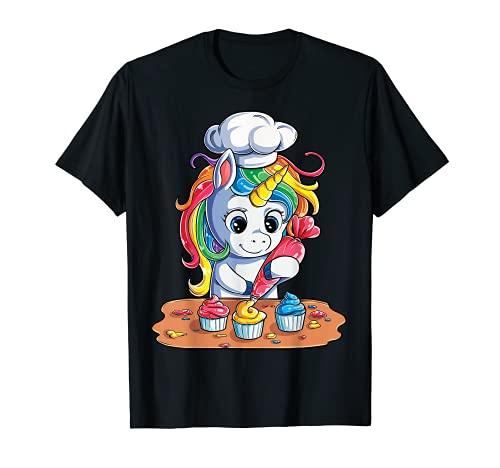 Einhorn Cupcake Lustige Mädchen Kinder Backen Kuchen Regenbogen Geschenke T-Shirt