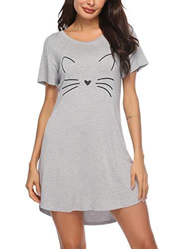 Sykooria Nachthemd Damen Kurzarm Baumwolle Sommer Nachtwäsche Nachtkleid Katzen Druck Rundhalsausschnitt Sleepshirt, Weiches und Bequemes Material, Frauen