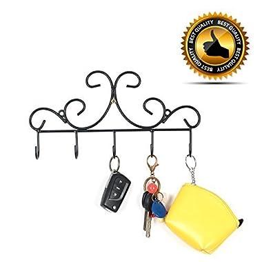 Wall Mounted Metal Hooks/Hangers - Door Hangers/Hooks - Decorative Organizer Rack with 6 Hooks for Keys Clothes Coats Hats Belts Towels Scarves Pots Cups Bags Kitchen Bathroom Garden (Black) (LSYY001)
