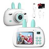 Cámara de fotos para niños, pantalla de 2,4 pulgadas, 1080p, cámara digital para niños de 3 a 10 años, cámara de fotos anticaídas, regalo con funda de silicona suave y tarjeta SD de 32 GB