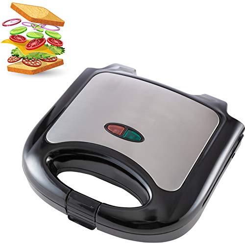 Smartweb Sandwichmaker 850 Watt Sandwichtoaster Campinggrill Antihaftbeschichtete Vegan und Vegetarisch Essen und Kochen abnehmbare Platten Cool Touch Griffe BPA frei Camping Silber Schwarz