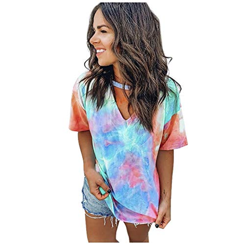Dainzusyful Women's Short Sleeve Tops Women Casual Loose Sexy Printed Tie Dye V Neck Short-Sleeved T-Shirt Tops