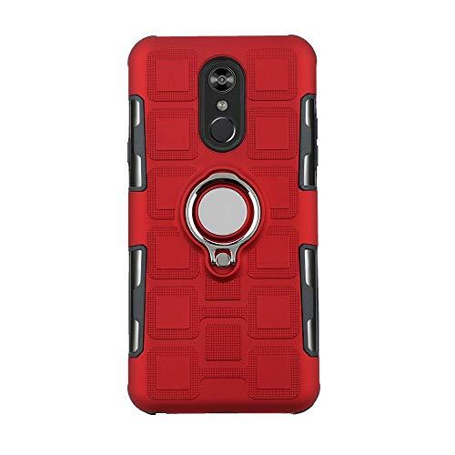 Sunrive Für LG Q Stylus Plus/Q Stylus Hülle Silikon, 360°drehbarer Ständer Ring Fingerhalter Fingerhalterung Handyhülle matt Schutzhülle Etui Case (11 Rot)+Gratis Universal Eingabestift