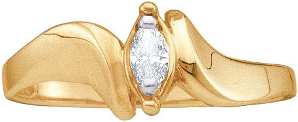 Dazzlingrock Collection 10kt Yellow Gold Womens Marquise Diamond Solitaire Promise Bridal Ring 1/20 ctw