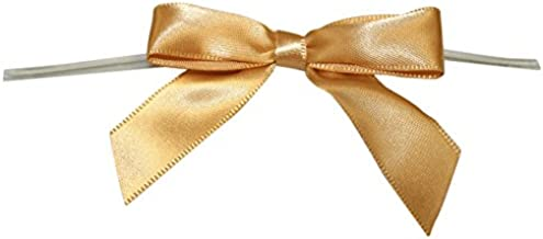 Reliant Ribbon Satin Twist Tie Small Bows, 5/8 Inch X 100 Pieces, Old Gold