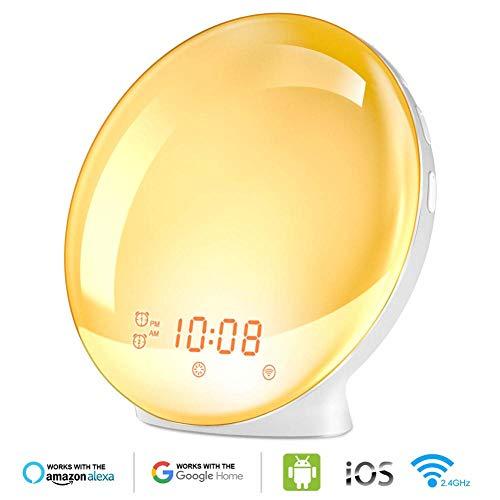 Wifi Smart Voice Control wekker Wake Digital Snooze Natuur Nachtlampje klok werken met Alexa Google Home App Smart Life-EU Standard_China
