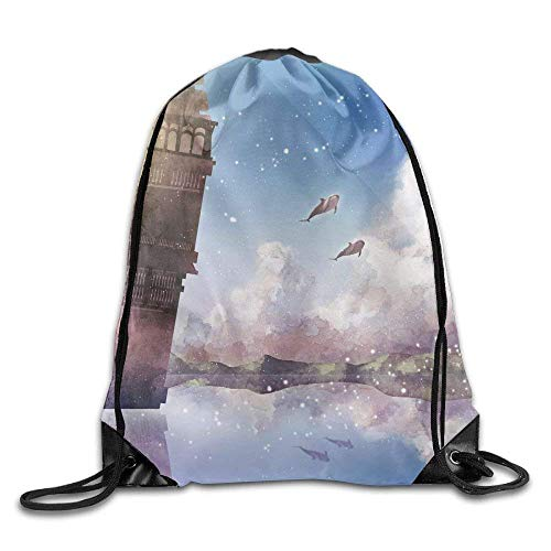 JHUIK Drawstring Bag Backpack,Leichte faltbare große Kapazität Der schiefe Turm von Pisa Kordelzug Rucksack Rucksack Umhängetaschen Trainingssack für Männer und Frauen Travel Casual Durable Shoulder B