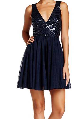 Trixxi Junior's Sequin Mesh Short Prom Dress, Navy, 3