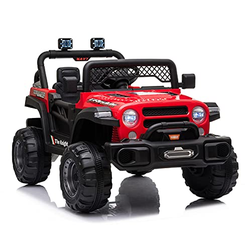 JIMIPARK Ride On Truck, Ride on Car with Remote Control 12V , Off-Road UTV, Motorized Vehicles with Music, Story, Solid Seat Belt, Wearable Wheels, 3 Speed, Spring Suspension, LED Light for Kids 3-6 -  JIMUPARK, JIMU93080239
