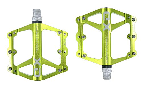 FrontStep Pedali Antiscivolo in Alluminio Generale Pedali per Biciclette Leggeri con Perno in Acciaio CR-Mo per MTB Pedale Mountain Bike Pedale BMX (Verde)