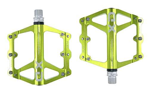 FrontStep Pedali Antiscivolo in Alluminio Generale Pedali per Biciclette Leggeri con Perno in Acciaio CR-Mo per MTB/Pedale Mountain Bike/Pedale BMX (Verde)