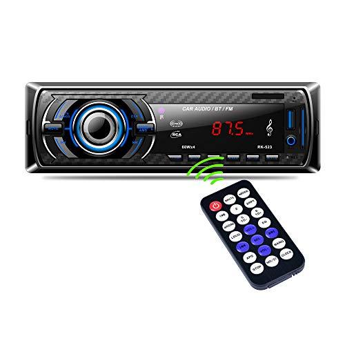 Autoradio Bluetooth, 4×60W Manos Libres Radio FM Estéreo de Coche, Apoyo de Reproductor MP3, Llamadas Manos Libres, Función de Radio y de Archivo