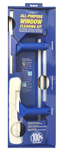Ettore 17050 All-Purpose Window Cleaning Combo Kit Includes 12-Inch All-Purpose Squeegee, 10-Inch All-Purpose Microfiber Washer and 42-inch REA-C-H Extension Pole , Blue