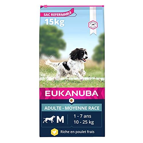 Eukanuba - Croquettes Premium Chiens Adultes Moyennes Races - 100% Complète et Equilibrée - Sans Protéines Végétales Cachées - Sans OGM Conservateurs Arôme Artificiel - Riche en Poulet Frais - 15kg