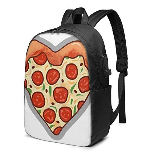 XCNGG Mochila para portátil, Mochila Ligera de Viaje de 17 Pulgadas con Puerto de Carga USB I Love Pizza Heart