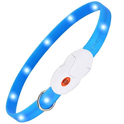 kolpop LED Leuchthalsband Hund, Hundehalsband Leuchtend USB Wiederaufladbar Led Halsband für Hunde Längenverstellbarer Hunde leuchthalsband 3 Modus Halsband Hund Leuchtend für Hunde und Katzen - Blau