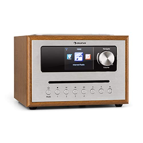auna Silver Star CD - Cube Radio, WiFi-radio met CD-speler, microsysteem, 21 cm breedte, VHF-tuner, Bluetooth, 10 watt RMS, AUX-In, app-bediening, houtlook, incl. afstandsbediening, bruin