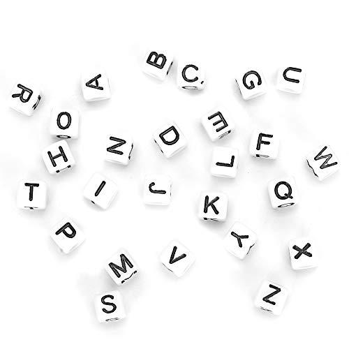 Contas de letras quadradas, material faça você mesmo de alta qualidade, 500 unidades de contas de acrílico, pulseira de artesanato para acessórios domésticos de(white)