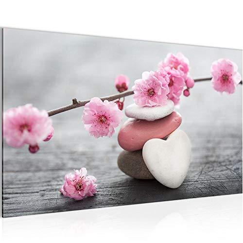 Bilder Feng Shui Blumen Wandbild Vlies - Leinwand Bild XXL Format Wandbilder Wohnzimmer Wohnung Deko Kunstdrucke Rosa Grau 1 Teilig - MADE IN GERMANY - Fertig zum Aufhängen 500114a
