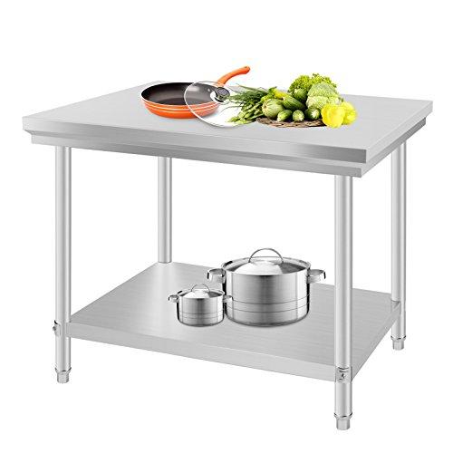 BuoQua 60x90x80cm Tavolo da Lavoro per Cucina Professionale Acciaio Inox Cucina Catering Tavolo da Lavoro per Cucina in Acciaio Inox