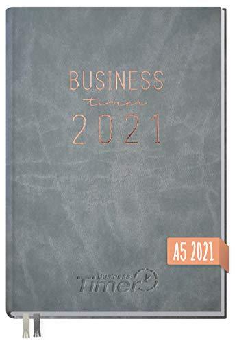 Chäff Business-Timer 2021 A5 grau | Wochenplaner, Wochenkalender, Organizer, Terminkalender für perfektes Zeitmanagement | nachhaltig & klimaneutral