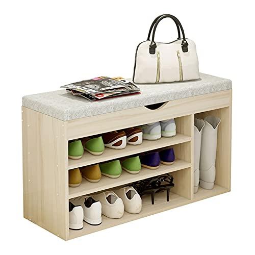 Zapatero de 3 niveles, zapatero con parte superior del banco de elevación y cojín de asiento suave, organizador de zapatos para estante de entrada (color: A)